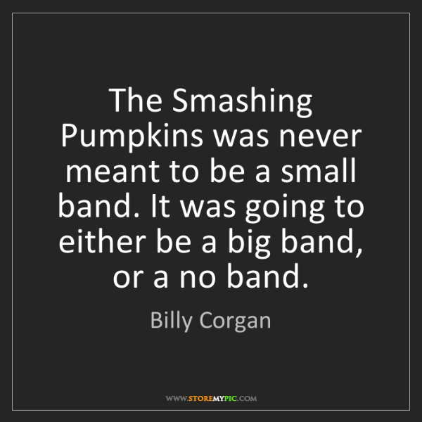 Billy Corgan: The Smashing Pumpkins was never meant to be a small band....
