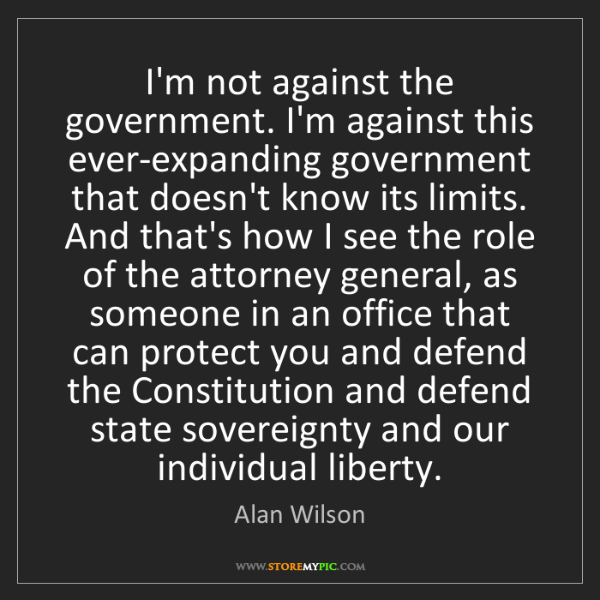 Alan Wilson: I'm not against the government. I'm against this ever-expanding...