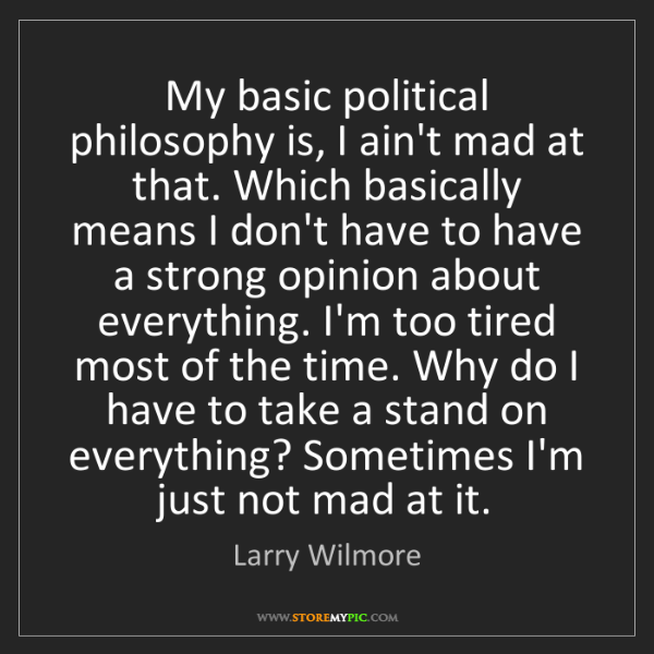 Larry Wilmore My Basic Political Philosophy Is I Aint Mad At That