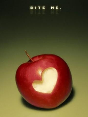 Bite me apple heart art