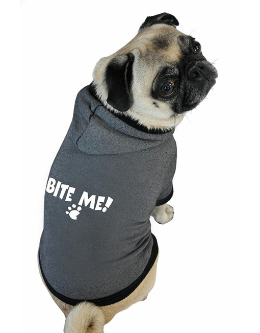 Bite me hoodie pug dog