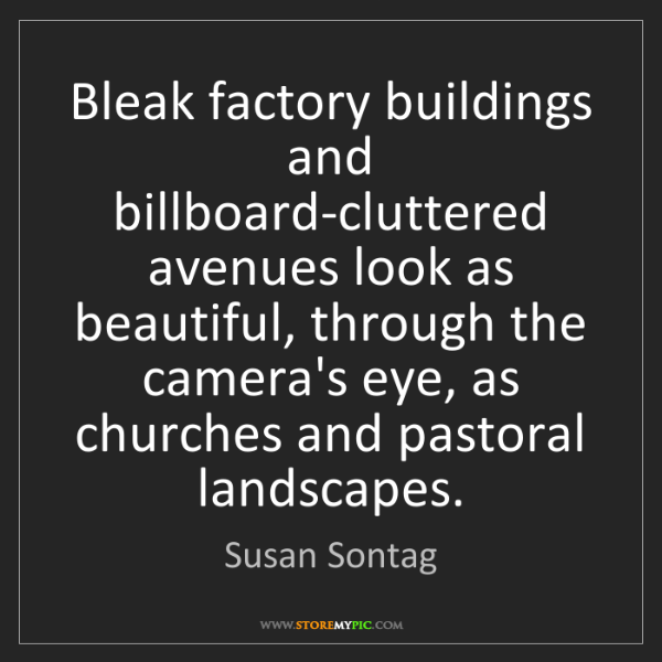Susan Sontag: Bleak factory buildings and billboard-cluttered avenues...