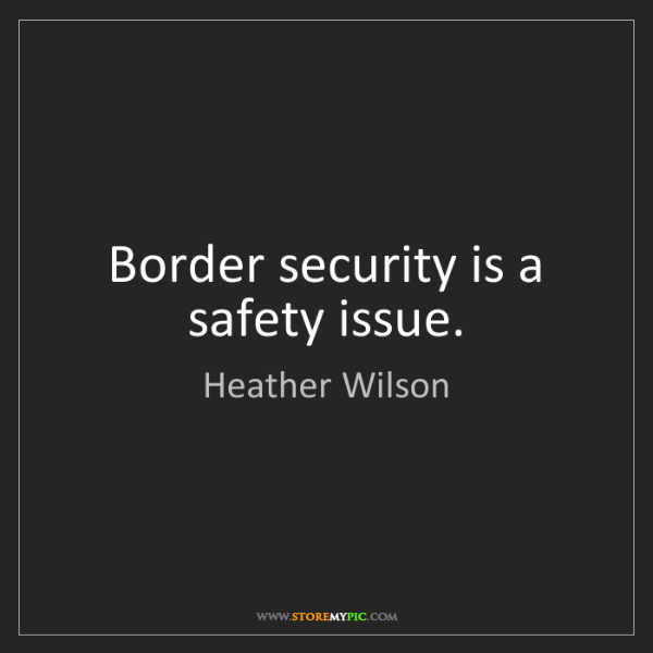 Heather Wilson: Border security is a safety issue.
