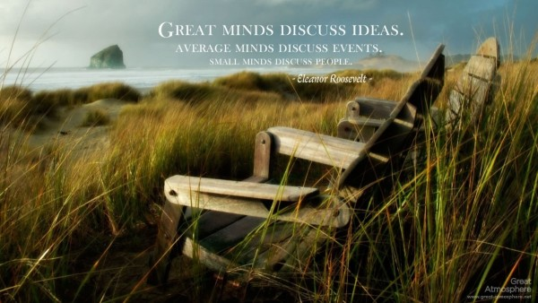 Great minds discuss ideas average minds discuss events brain