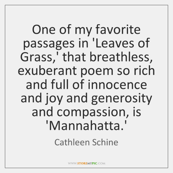 One of my favorite passages in 'Leaves of Grass,' that breathless, ...