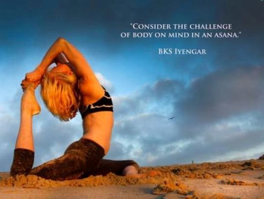 Consider the challenge of body on mind in an asana