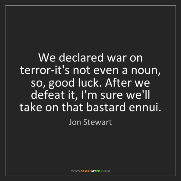 Jon Stewart: We declared war on terror-it's not even a noun, so, good...