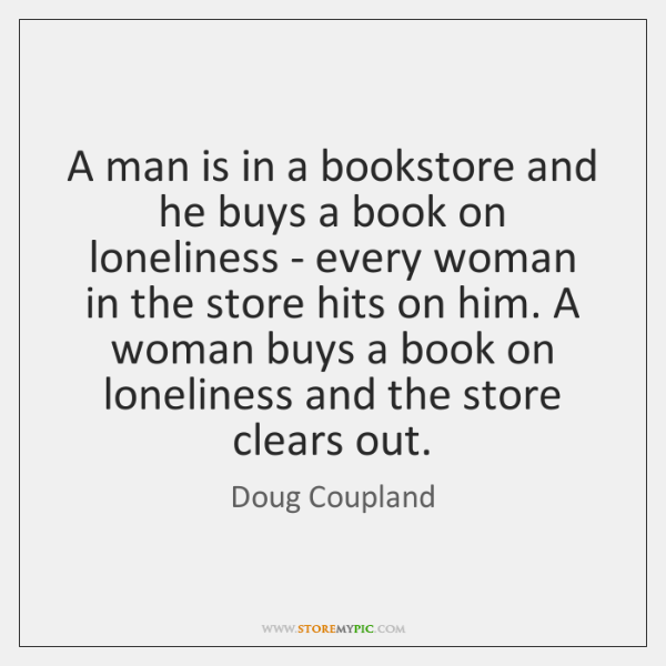A man is in a bookstore and he buys a book on ...