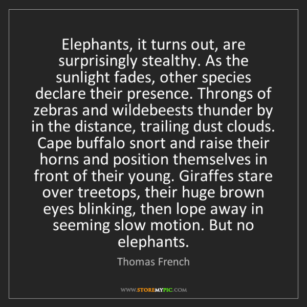 Thomas French: Elephants, it turns out, are surprisingly stealthy. As...