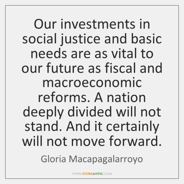 Our investments in social justice and basic needs are as vital to ...