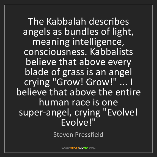 Steven Pressfield: The Kabbalah describes angels as bundles of light, meaning...