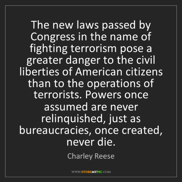 Charley Reese: The new laws passed by Congress in the name of fighting...