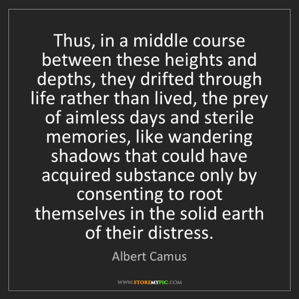 Albert Camus: Thus, in a middle course between these heights and depths,...