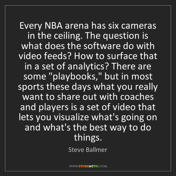 Steve Ballmer: Every NBA arena has six cameras in the ceiling. The question...