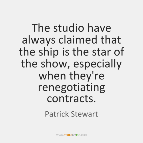 The studio have always claimed that the ship is the star of ...