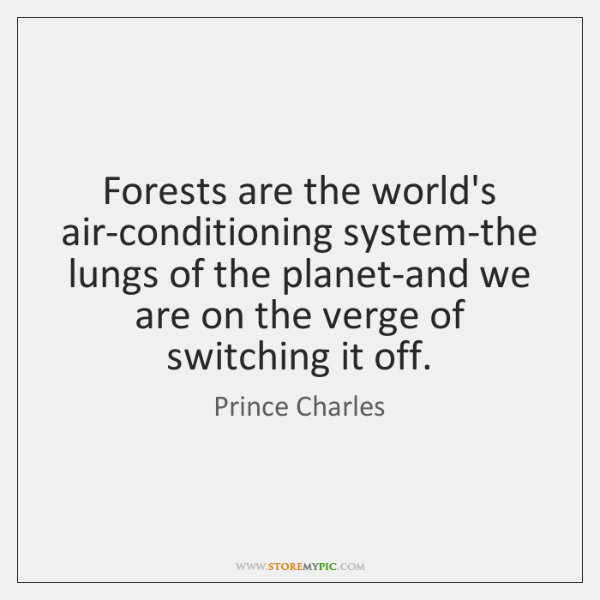 Forests are the world's air-conditioning system-the lungs of the planet-and we are ...