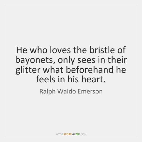 He who loves the bristle of bayonets, only sees in their glitter ...