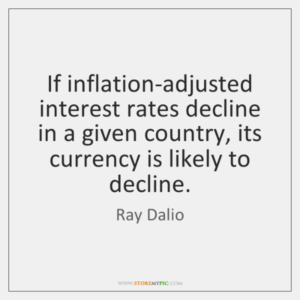If inflation-adjusted interest rates decline in a given country, its currency is ...