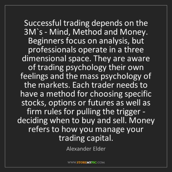 Alexander Elder: Successful trading depends on the 3M`s - Mind, Method...