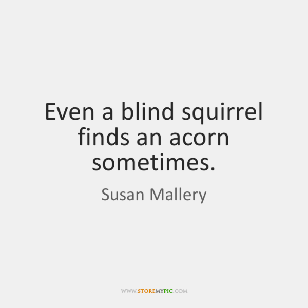 Even a blind squirrel finds an acorn sometimes.
