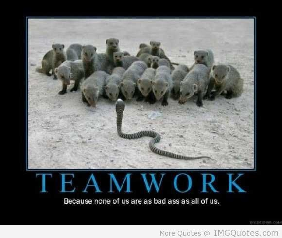 Teamwork because none of us are as bad ass as all of us