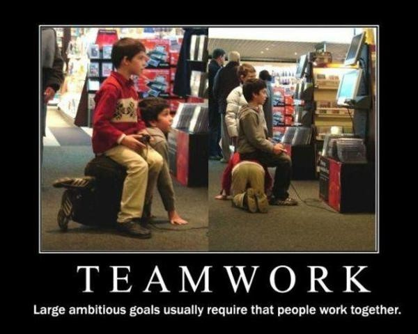 Teamwork large ambitious goals usually require that people work together