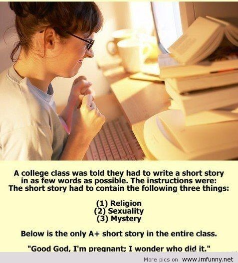 A college class was told they had to write a short story in as few words as possible