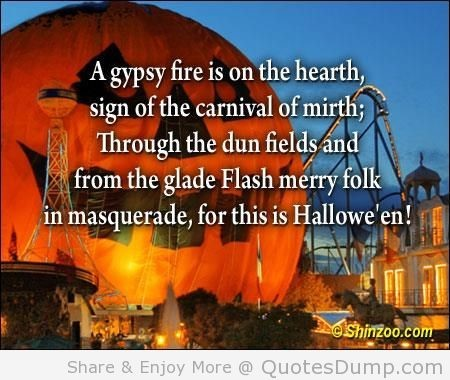 A gypsy fire is on the hearth sign of the carnival of mirth through the dun fields and from the glad
