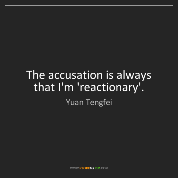 Yuan Tengfei: The accusation is always that I'm 'reactionary'.
