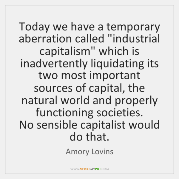 "Today we have a temporary aberration called ""industrial capitalism"" which is inadvertently ..."