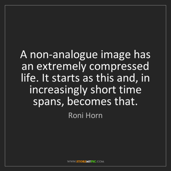 Roni Horn: A non-analogue image has an extremely compressed life....