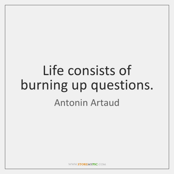 Life consists of burning up questions.