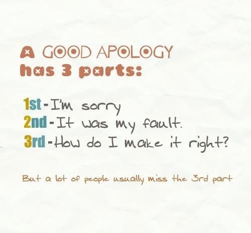 A good apology has 3 parts