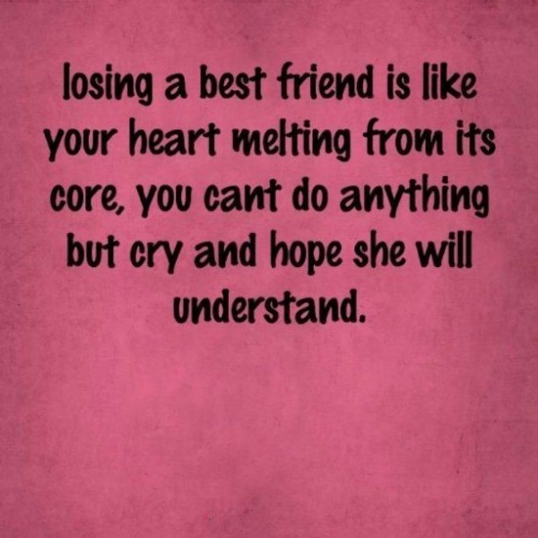 Losing a best friend is like your heart melting from its core
