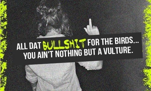 All day bullshit for the birds you aint nothing but a vulture