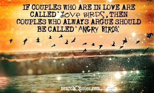 If couples who are in love are called love birds then couples who always argue should be