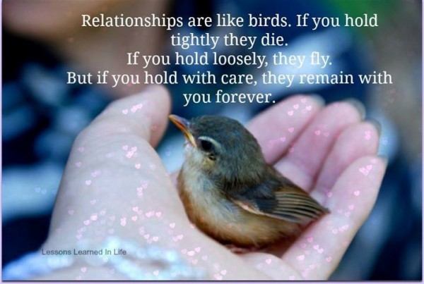 Relationships are like birds if you hold tightly they die if you hold loosely they fly