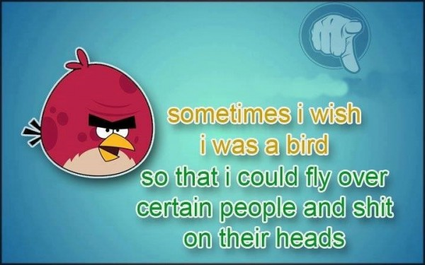 Sometimes i wish i was a bird so that i could fly over certain people and shit ontheir h