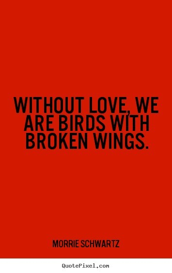 Without love we are birds with broken wings