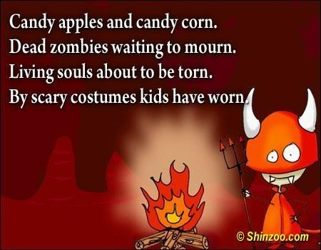 Candy apples and candy corn dead zombies waiting to mourn living souls about to be torn by scary cos