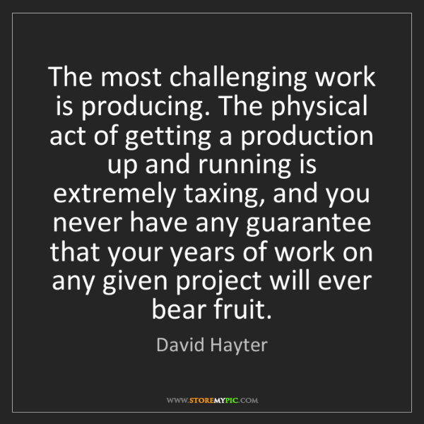 David Hayter: The most challenging work is producing. The physical...