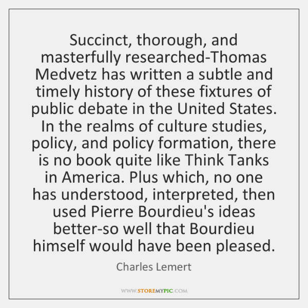 Succinct, thorough, and masterfully researched-Thomas Medvetz has written a subtle and timely ...