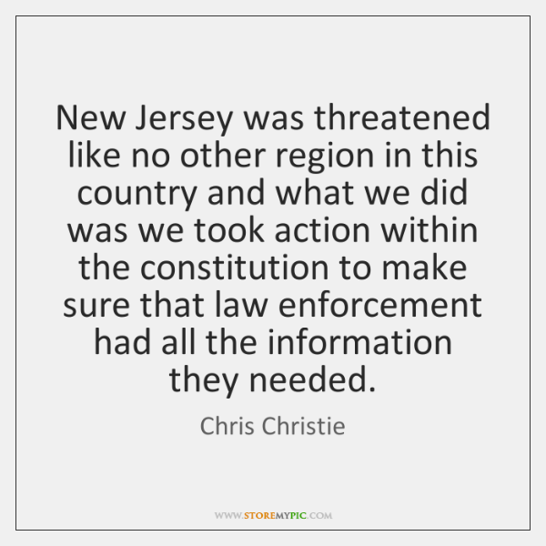 New Jersey was threatened like no other region in this country and ...