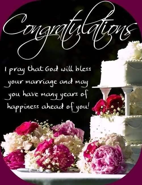 Congratulations i pray that god will bless your marriage and may you have many years of happiness ah