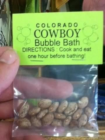 Colorado cowboy bubble bath directions cook and eat one hour before bathing