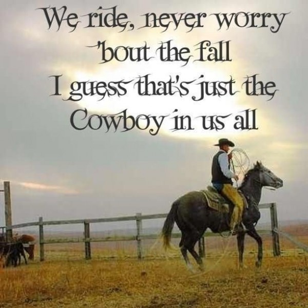 We ride never worry bout the fall i guess thats just the cowboy in us all