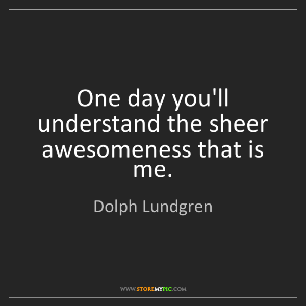 Dolph Lundgren: One day you'll understand the sheer awesomeness that...