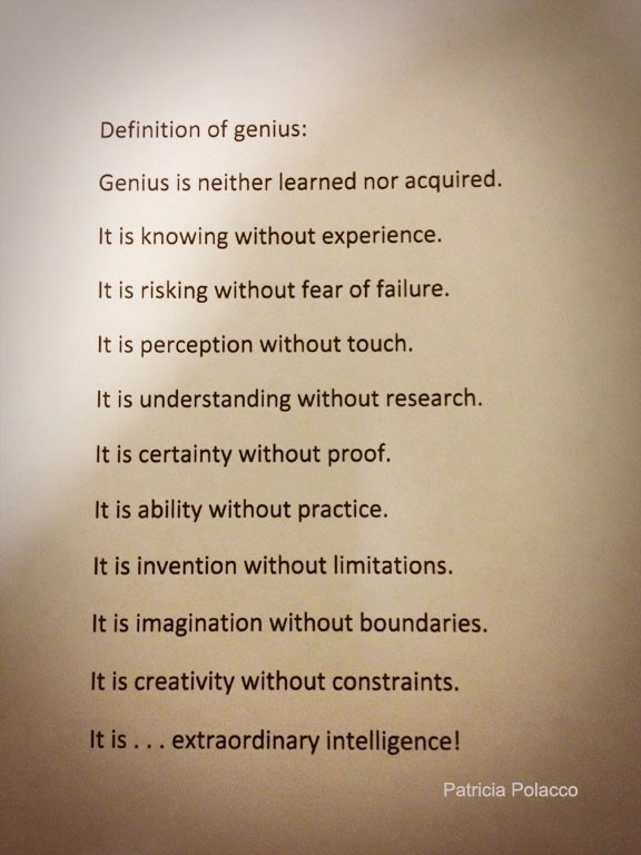 Definition of genius is neither learned nor acquired