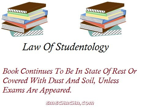 Law of stuentology book continues to be in state of rest or covered with dust and soil