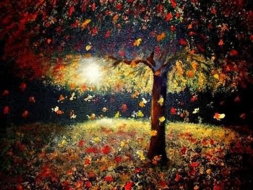 Falling leaves beautiful autumn season